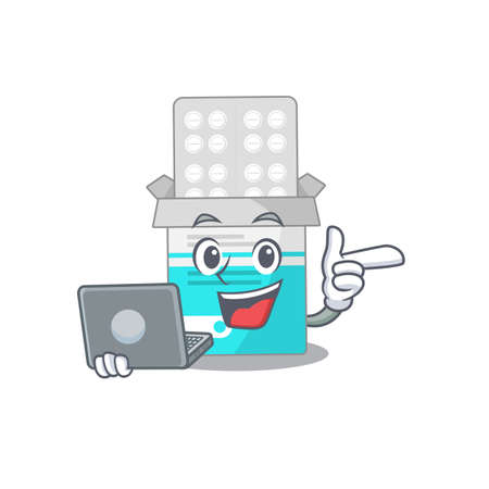 A neat cartoon character of medical medicine tablet  working at home during pandemic. Vector illustration  イラスト・ベクター素材