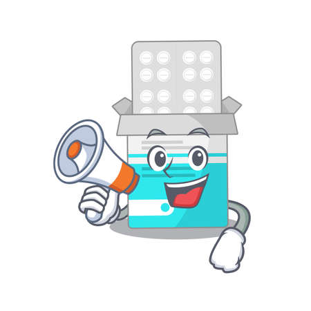 Medical medicine tablet carton picture style giving announcement on a megaphone  イラスト・ベクター素材