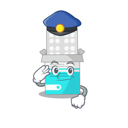 A handsome Police officer cartoon picture of medical medicine tablet with a blue hat Çizim