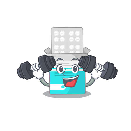 Muscular medical medicine tablet mascot design with barbells during exercise
