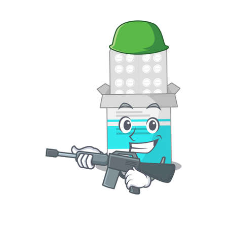 A charming army medical medicine tablet cartoon picture style having a machine gun