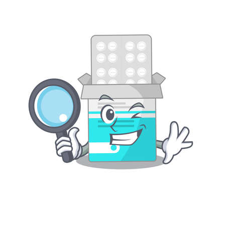 cartoon mascot design of medical medicine tablet super Detective breaking the case using tools