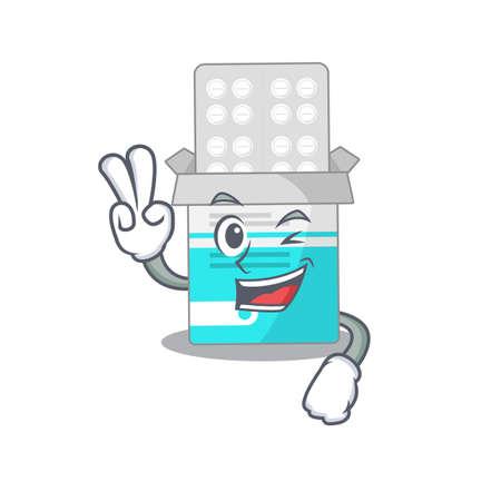 A joyful medical medicine tablet cartoon mascot style show two fingers pose  イラスト・ベクター素材