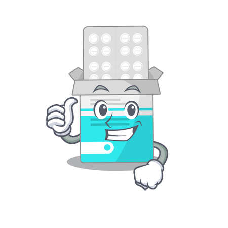 Medical medicine tablet cartoon picture design showing OK finger pose  イラスト・ベクター素材