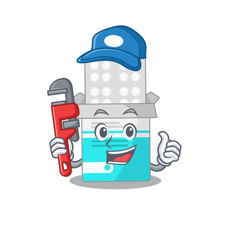 cartoon mascot design of medical medicine tablet as a Plumber with tool