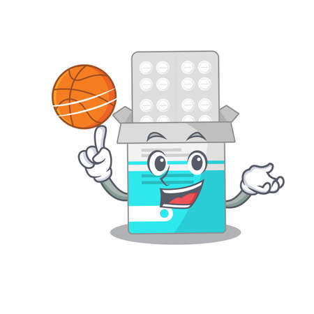 An athletic medical medicine tablet cartoon mascot design with basketball