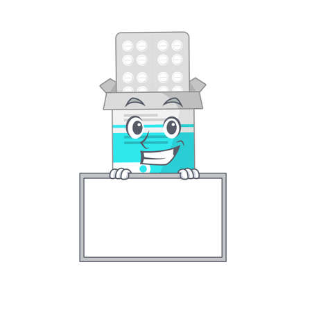 Funny cartoon design style medical medicine tablet standing behind a board  イラスト・ベクター素材