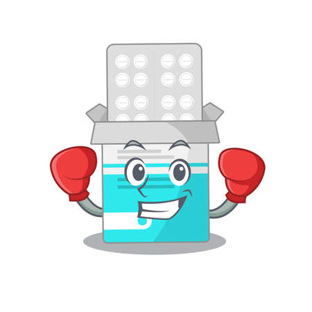 Medical medicine tablet Caricature character design as a champion of boxing competition