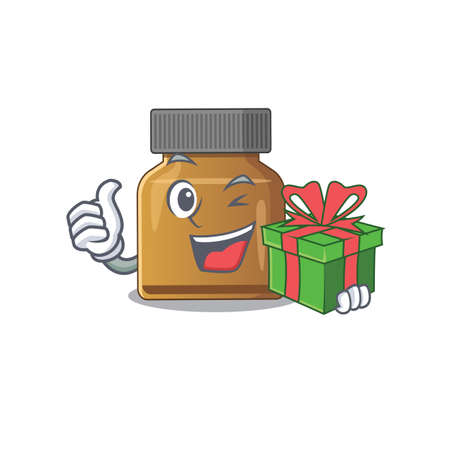 joyful bottle vitamin b cartoon character with a big gift box. Vector illustration Иллюстрация