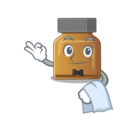 A cartoon picture of bottle vitamin b waiter with a white napkin. Vector illustration Ilustracja