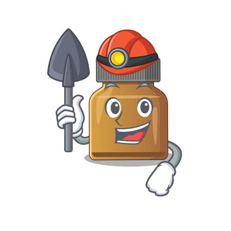 A cartoon picture of bottle vitamin b miner with tool and helmet. Vector illustration Иллюстрация