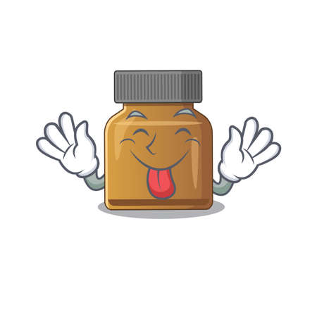 Funny bottle vitamin b cartoon design with tongue out face. Vector illustration Иллюстрация