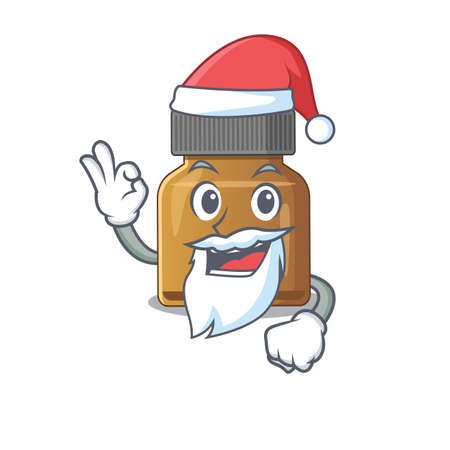 cartoon character of bottle vitamin b Santa having cute ok finger. Vector illustration
