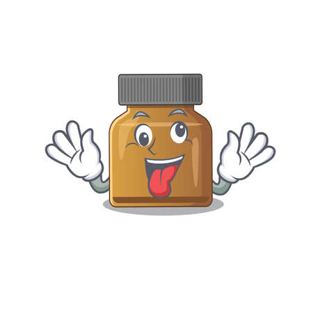 A mascot design of bottle vitamin b having a funny crazy face. Vector illustration Иллюстрация