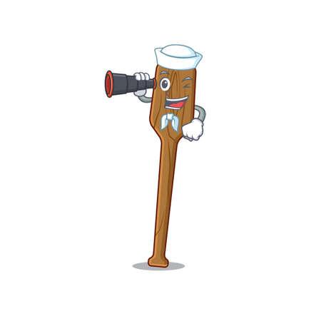 A cartoon picture of oars Sailor using binocular. Vector illustration