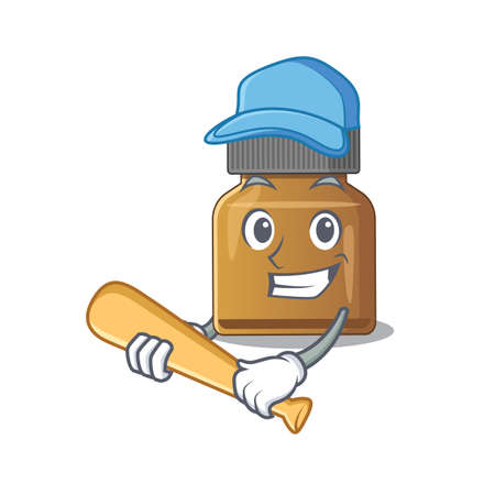 Attractive bottle vitamin b caricature character playing baseball. Vector illustration Çizim