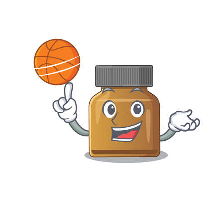 Sporty cartoon mascot design of bottle vitamin b with basketball. Vector illustration