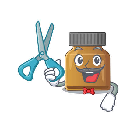 Bottle vitamin b cartoon character design as talented barber. Vector illustration