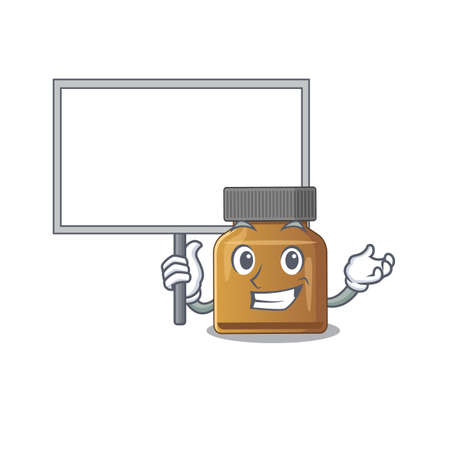 Cartoon picture of bottle vitamin b mascot design style carries a board. Vector illustration Çizim
