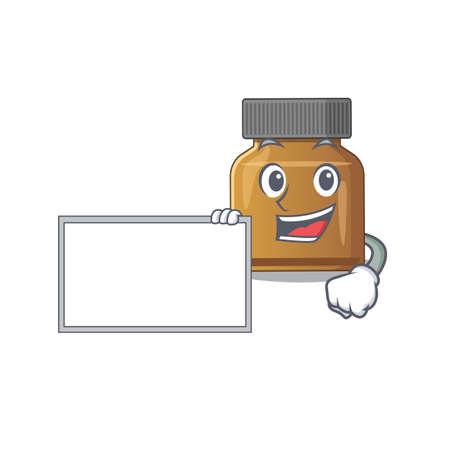 Cartoon character design of bottle vitamin b holding a board. Vector illustration