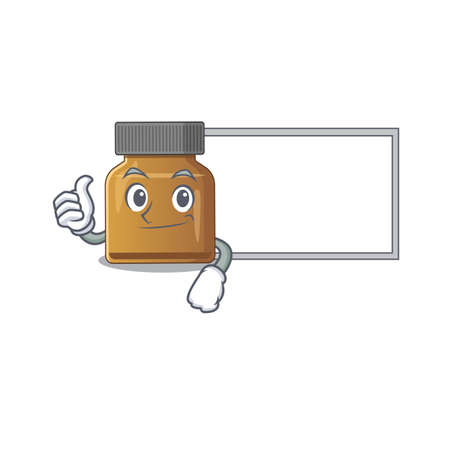 Bottle vitamin b cartoon design with Thumbs up finger bring a white board. Vector illustration