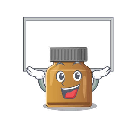 Caricature character of bottle vitamin b succeed lift up a board. Vector illustration Illustration