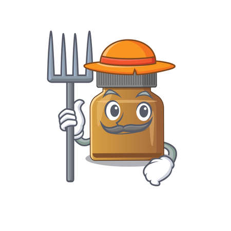 Bottle vitamin b mascot design working as a Farmer wearing a hat. Vector illustration Çizim