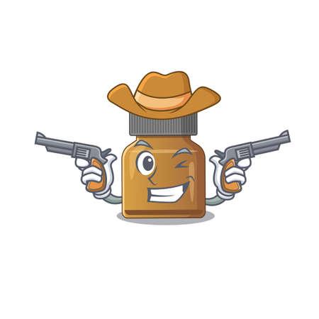 Cartoon character cowboy of bottle vitamin b with guns. Vector illustration Çizim