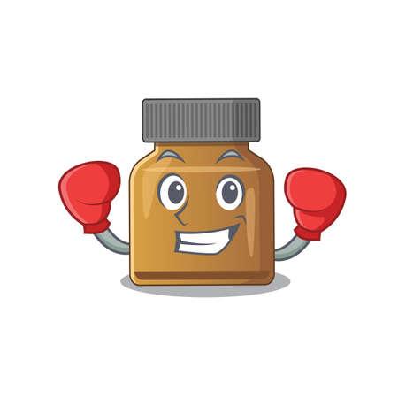 Mascot design of bottle vitamin b as a sporty boxing athlete. Vector illustration Çizim