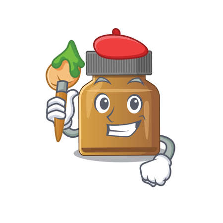 An artistic bottle vitamin b artist mascot design paint using a brush. Vector illustration 向量圖像