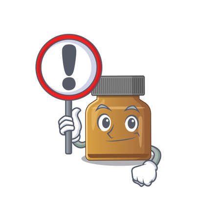 A cartoon icon of bottle vitamin b with a exclamation sign board. Vector illustration