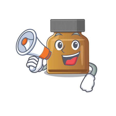 Mascot design of bottle vitamin b announcing new products on a megaphone. Vector illustration