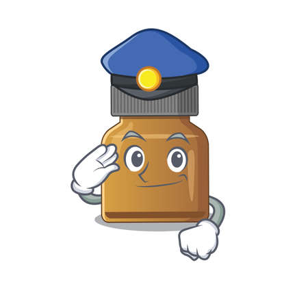 Police officer cartoon drawing of bottle vitamin b wearing a blue hat. Vector illustration