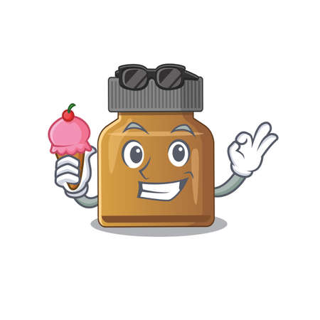 A cartoon drawing of bottle vitamin b holding cone ice cream. Vector illustration