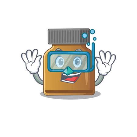 Bottle vitamin b mascot design swims with diving glasses. Vector illustration