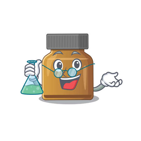 caricature character of bottle vitamin b smart Professor working on a lab. Vector illustration