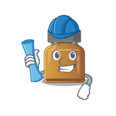 caricature picture of bottle vitamin b Architect with blue prints. Vector illustration Çizim