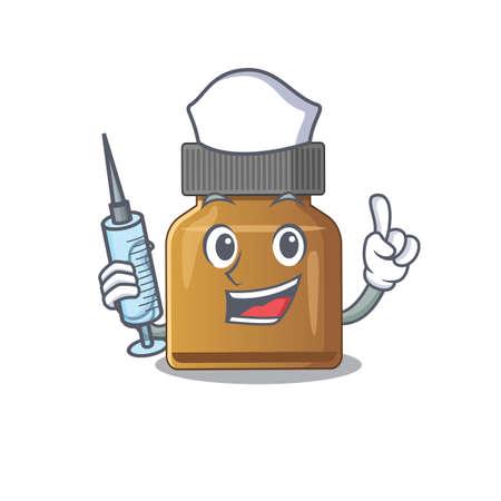 Bottle vitamin b humble nurse mascot design with a syringe. Vector illustration Çizim