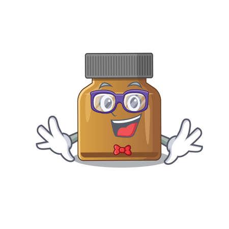 A cartoon drawing of geek bottle vitamin b wearing weird glasses. Vector illustration