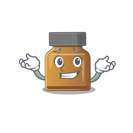 A cute picture of grinning bottle vitamin b caricature character. Vector illustration Çizim