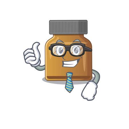 cartoon drawing of bottle vitamin b Businessman wearing glasses and tie. Vector illustration Çizim
