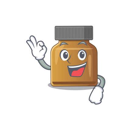 Bottle vitamin b mascot design style showing Okay gesture finger. Vector illustration