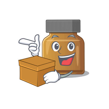 A cheerful bottle vitamin b cartoon design concept having a box. Vector illustration Illustration