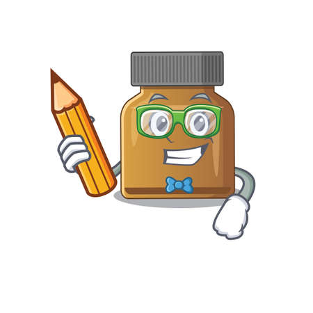 A clever student bottle vitamin b cartoon character study at home. Vector illustration