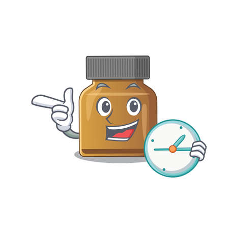 mascot design style of bottle vitamin b standing with holding a clock. Vector illustration Çizim