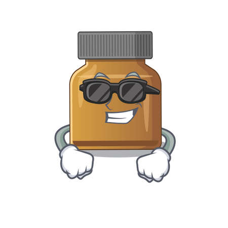 cartoon character of bottle vitamin b wearing classy black glasses. Vector illustration