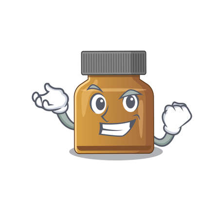 A funny cartoon design concept of bottle vitamin b with happy face. Vector illustration Çizim