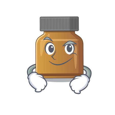A cute arrogant caricature design of bottle vitamin b having confident gesture. Vector illustration Illustration