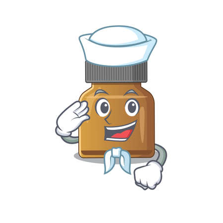 Smiley sailor cartoon character of bottle vitamin b wearing white hat and tie. Vector illustration