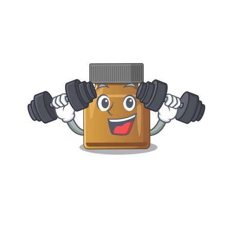 Bottle vitamin b mascot design feels happy lift up barbells during exercise. Vector illustration